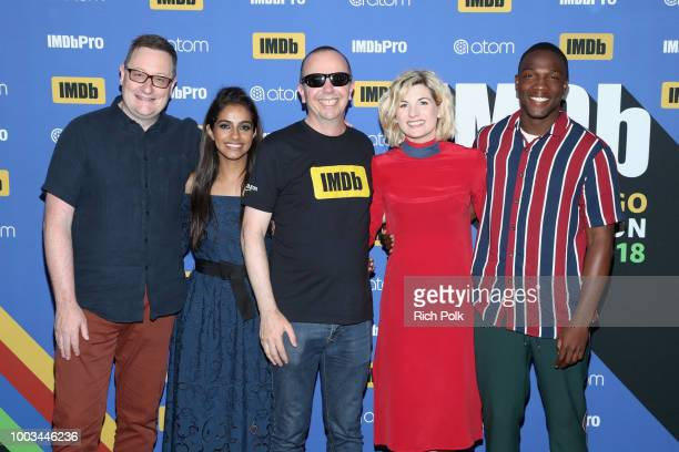 Chris Chibnall Mandip Gill IMDb Founder and CEO Col Needham Jodie Whittaker and Tosin Cole attend the #IMDboat At San Diego ComicCon 2018 Day Three...