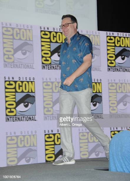 Chris Chibnall walks onstage during the Doctor Who BBC America's Official panel during ComicCon International 2018 at San Diego Convention Center on...