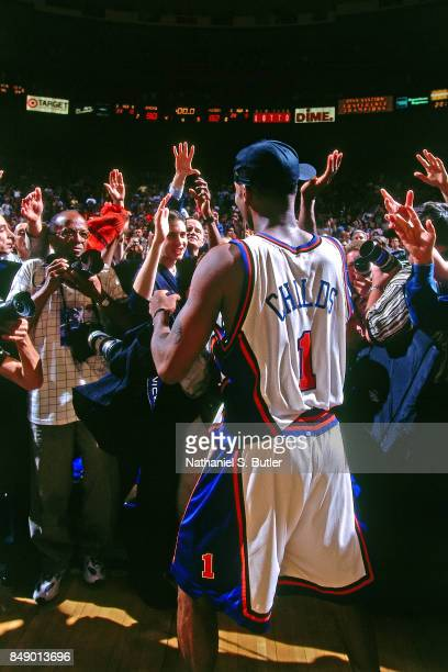 Chris Childs of the New York Knicks walks against the Indiana Pacers during Game Six of the 1999 Eastern Conference Finals on June 11 1999 at Madison...