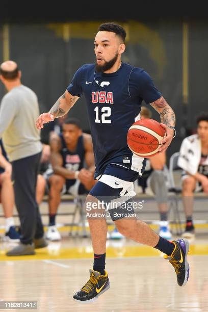 Chris Chiozza handles the ball during the 2019 USA Basketball Men's National Team Training Camp at UCLA Health Training Center on August 14 2019 in...