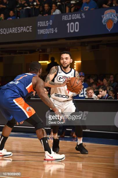Chris Chiozza of the Capital City Go Go dribbles against Kadeem Allen of the Westchester Knicks at the Westchester County Center on January 06 2019...