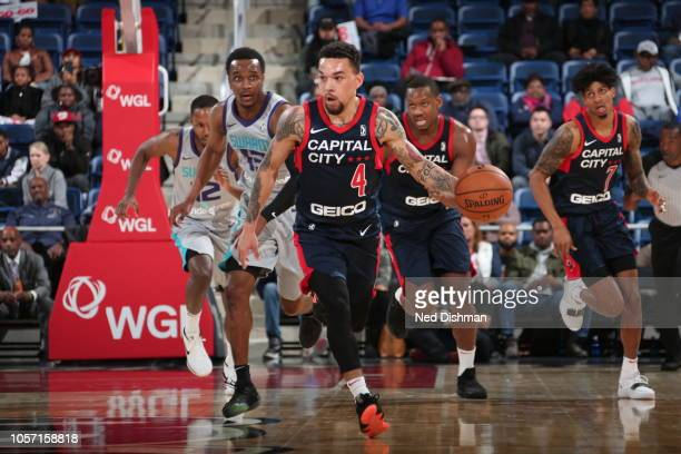 Chris Chiozza of the Capital City GoGo drives down the court during an NBA GLeague game against the Greensboro Swarm at the Entertainment and Sports...