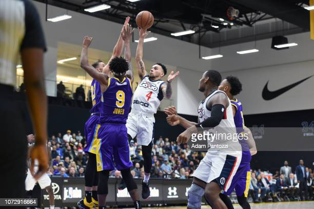 Chris Chiozza of the Capital City GoGo goes to the basket against the South Bay Lakers on December 13 2018 at UCLA Heath Training Center in El...