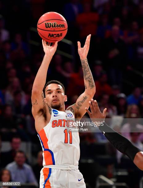 Chris Chiozza of the Florida Gators attempts a shot against the South Carolina Gamecocks during the first half of the 2017 NCAA Men's Basketball...