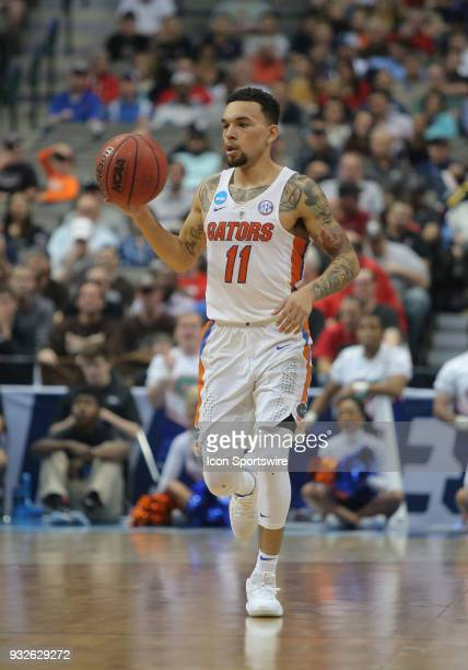 Chris Chiozza of the Florida Gators dribbles the ball during the NCAA Div I Men's Championship First Round basketball game between the Florida Gators...