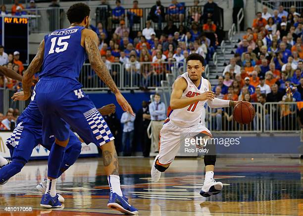 Chris Chiozza of the Florida Gators in action during the game against the Kentucky Wildcats at the Stephen C O'Connell Center on February 7 2015 in...