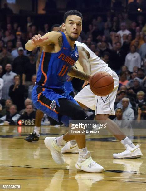 Chris Chiozza of the Florida Gators plays against the Vanderbilt Commodores at Memorial Gym on March 4 2017 in Nashville Tennessee