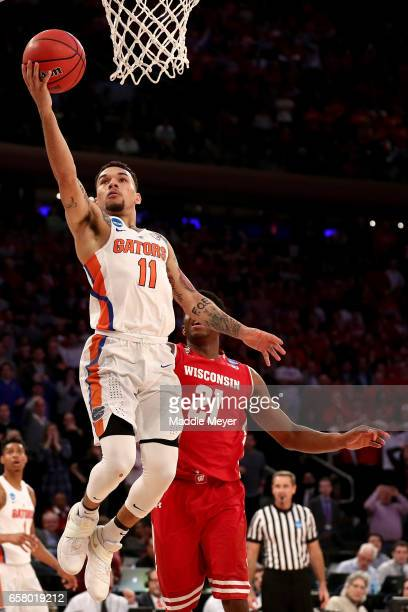 Chris Chiozza of the Florida Gators shoots the ball during the 2017 NCAA Men's Basketball Tournament East Regional at Madison Square Garden on March...