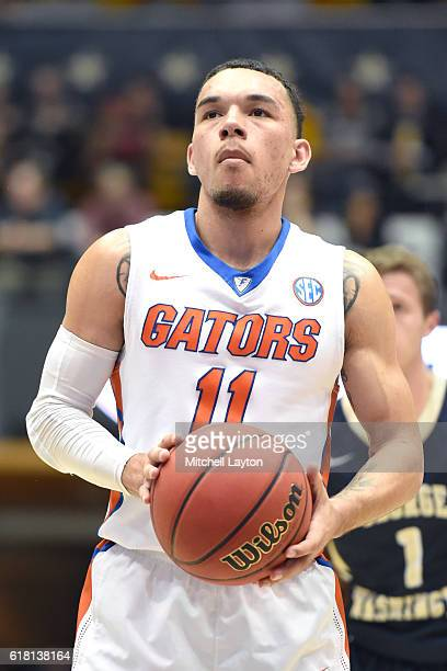 Chris Chiozza of the Florida Gators takes a foul shot during the NIT Quarterfinal basketball game against George Washington Colonials at the Smith...