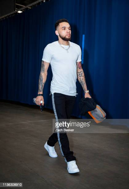Chris Chiozza of the Houston Rockets arrives at the arena before the game against the Oklahoma City Thunder on April 9 2019 at the Chesapeake Energy...