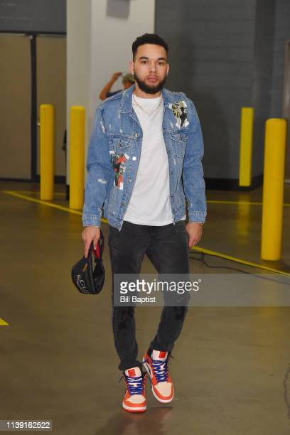 Chris Chiozza of the Houston Rockets arrives to the arena prior to Game Five of Round One of the 2019 NBA Playoffs against the Utah Jazz on April 24...