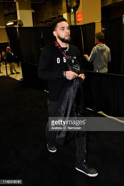 Chris Chiozza of the Houston Rockets arrives to the arena prior to Game Two of the Western Conference SemiFinals of the 2019 NBA Playoffs against the...