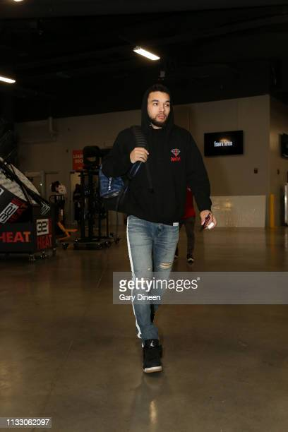 Chris Chiozza of the Houston Rockets arrives to the game against the Milwaukee Bucks on March 26 2019 at the Fiserv Forum in Milwaukee Wisconsin NOTE...