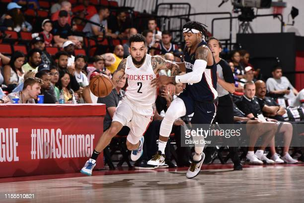 Chris Chiozza of the Houston Rockets drives to the basket against the Denver Nuggets during Day 9 of the 2019 Las Vegas Summer League on July 13 2019...