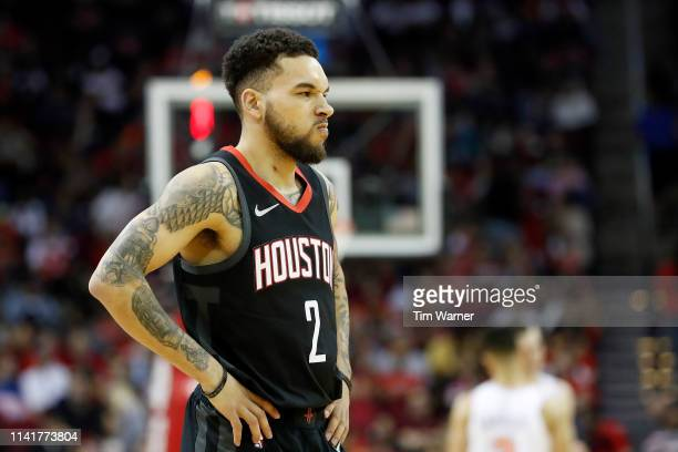 Chris Chiozza of the Houston Rockets reacts in the fourth quarter against the New York Knicks at Toyota Center on April 5 2019 in Houston Texas NOTE...