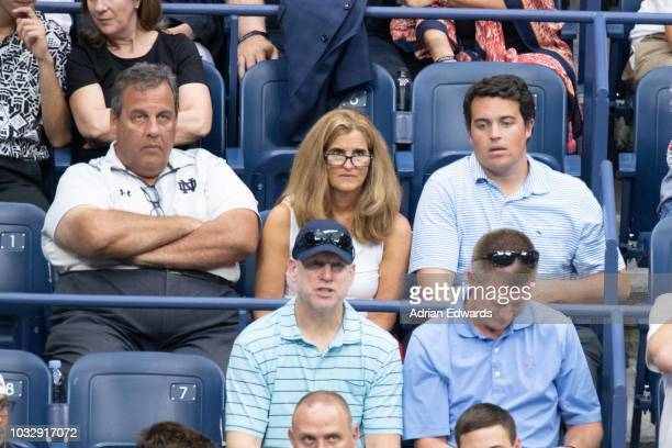 Chris Christie and Mary Pat Christie with their son at Day 12 of the US Open held at the USTA Tennis Center on September 7 2018 in New York City