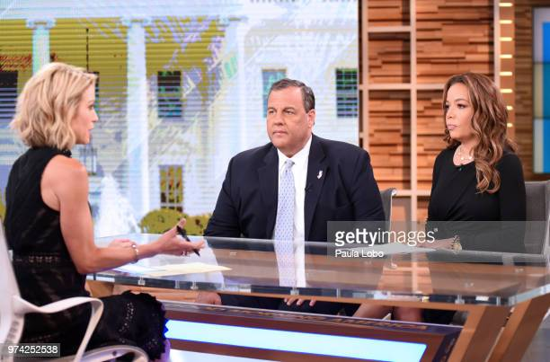 """Chris Christie and Sunny Hostin on """"Good Morning America,"""" Thursday, June 14, 2018 airing on the Walt Disney Television via Getty Images Television..."""