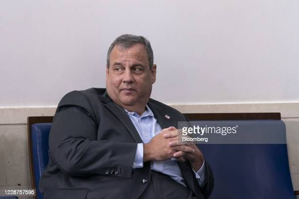 Chris Christie, former Governor of New Jersey, listens as U.S. President Donald Trump speaks during a news conference in the James S. Brady Press...