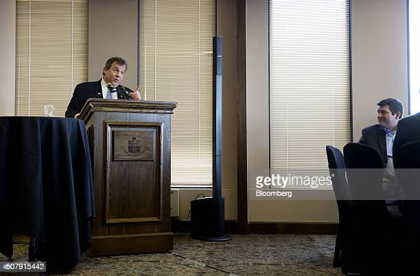 Chris Christie governor of New Jersey and 2016 Republican presidential candidate speaks during the Bull Moose Club luncheon in Des Moines Iowa US on...