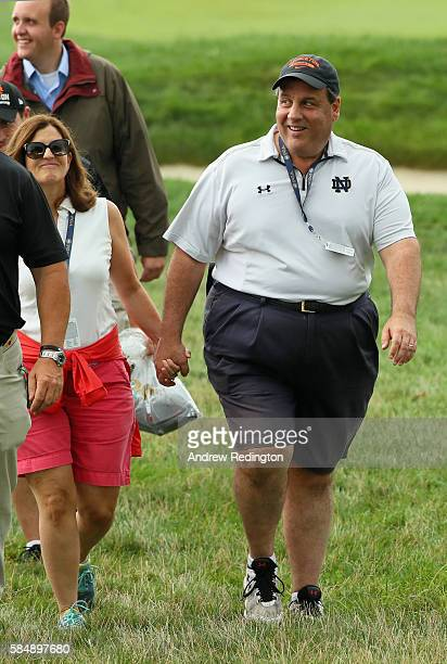 Chris Christie Governor of New Jersey and his wife Mary Pat are seen during the final round of the 2016 PGA Championship at Baltusrol Golf Club on...
