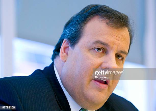 Chris Christie governor of New Jersey speaks during an interview in New York US on Wednesday March 17 2010 Christie wants funds from...