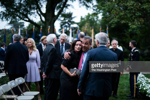 Chris Christie greets others after President Donald J. Trump spoke with Judge Amy Coney Barrett during a ceremony to announce Barrett as his nominee...