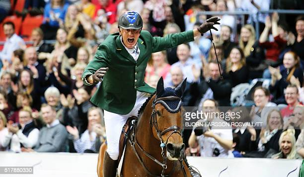 Chris Chugg of Australia on the horse Cristalline reacts after the second round of the Longines FEI World Cup Jumping Final III event of the...