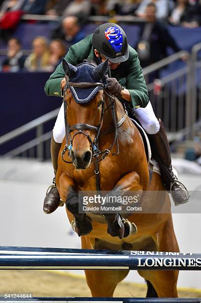 Chris Chugg of Australia riding Cristalline the Longines FEI World Cup Jumping Final event of the Gothenburg Horse Show at Scandinavium Arena on...