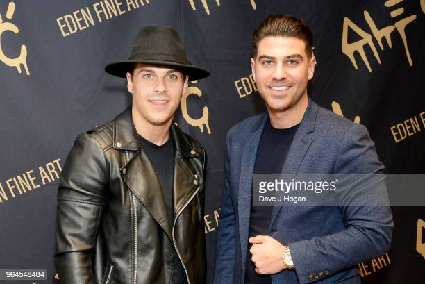 Chris Clark and Jon Clark attend Alec Monopoly's 'Breaking the Bank on Bond Street' exhibition launch party at the Eden Fine Art Gallery on May 31...
