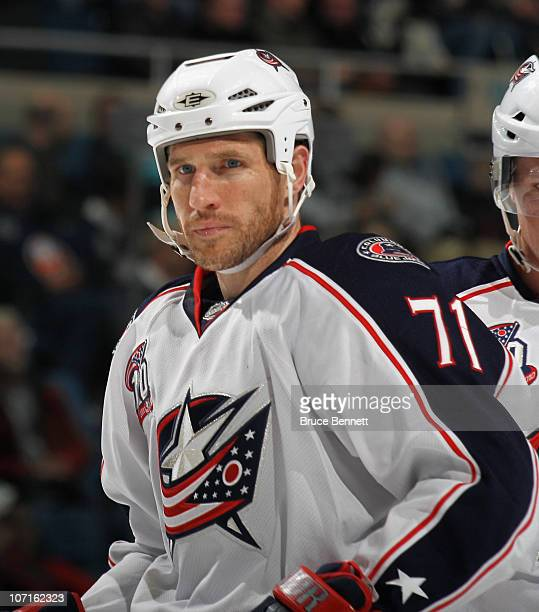 Chris Clark of the Columbus Blue Jackets skates against the New York Islanders at the Nassau Coliseum on November 24 2010 in Uniondale New York