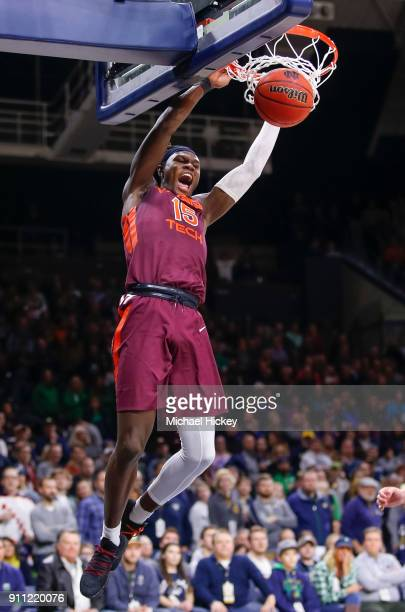 Chris Clarke of the Virginia Tech Hokies dunks the ball to seal the game against the Notre Dame Fighting Irish at Purcell Pavilion on January 27 2018...