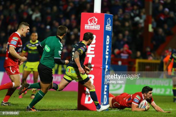Chris Clarkson of Hull KR dives in to score a try during the BetFred Super League match between Hull KR and Wakefield Trinity at KCOM Craven Park on...