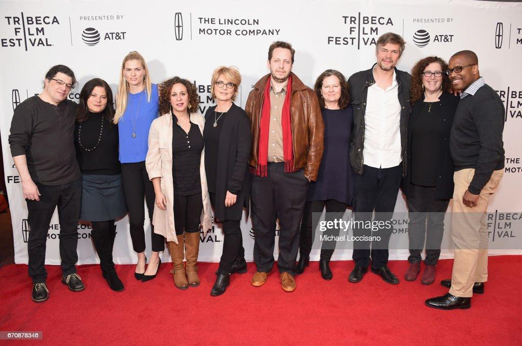 Chris Clements, Bonni Shenk, Sarah Modjoumi, Gini Reticker, Lisa Kleiner-Chanoff, Till Schauder, and Julie Goldman attend the 'When God Sleeps' Premiere during 2017 Tribeca Film Festival at Cinepolis Chelsea on April 20, 2017 in New York City.