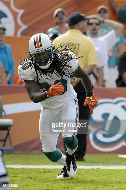 Chris Clemons of the Miami Dolphins during a NFL game against the Houston Texans at Land Shark Stadium on December 27 2009 in Miami Florida