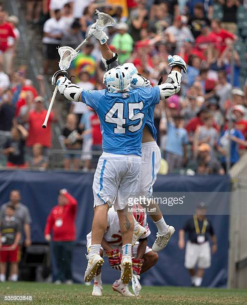 Chris Cloutier of the North Carolina Tar Heels celebrates after scoring the game winning goal in overtime against the Maryland Terrapinsin the NCAA...