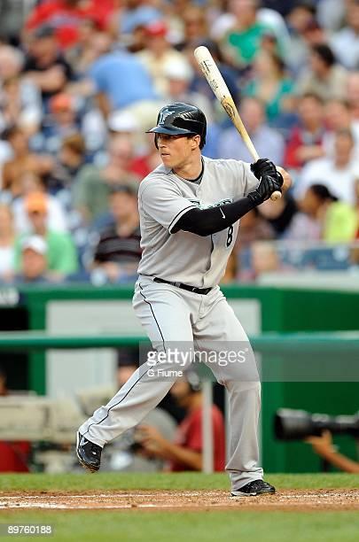 Chris Coghlan of the Florida Marlins bats against the Washington Nationals at Nationals Park on August 4, 2009 in Washington, D.C. The Nationals...