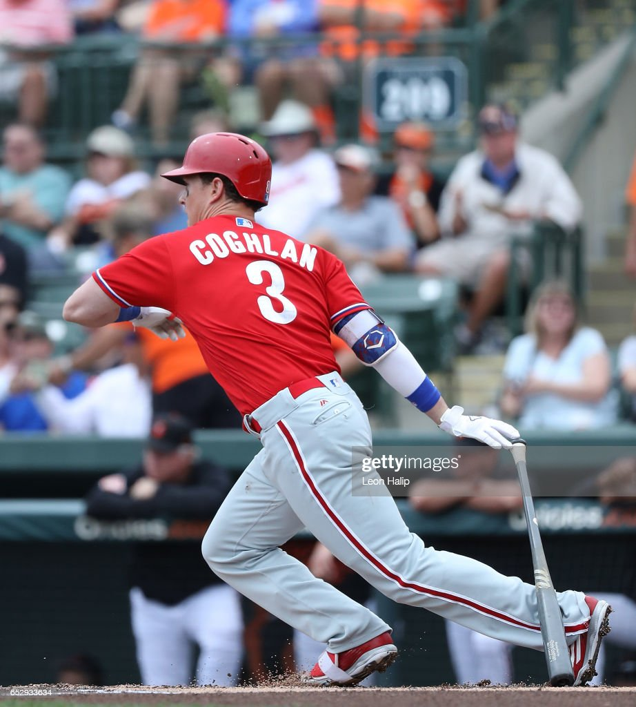 Chris Coghlan #3 of the Philadelphia Phillies hits a lead off double during the Spring Training Game against the Baltimore Orioles on March 13, 2017 at Ed Smith Stadium in Sarasota, Florida.