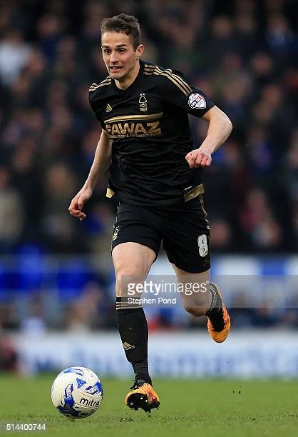 Chris Cohen of Nottingham Forest during the Sky Bet Championship match between Ipswich Town and Nottingham Forest at Portman Road on March 5 2016 in...