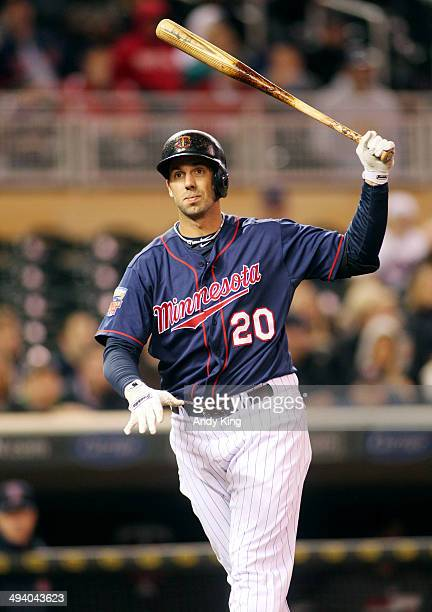 Chris Colabello of the Minnesota Twins reacts after striking out in the ninth inning against the Boston Red Sox during MLB game action on May 13 2014...