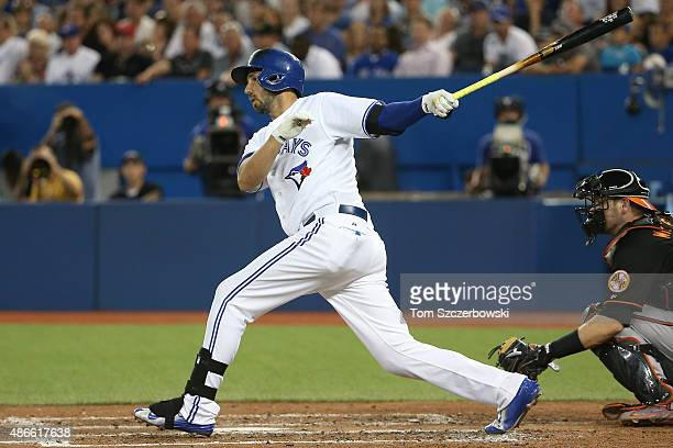 Chris Colabello of the Toronto Blue Jays hits a single in the fourth inning during MLB game action against the Baltimore Orioles on September 4 2015...