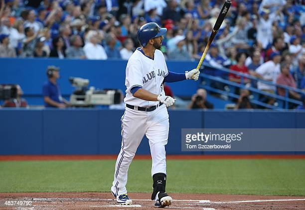 Chris Colabello of the Toronto Blue Jays hits a threerun home run in the first inning during MLB game action against the Oakland Athletics on August...