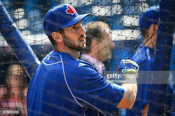 Chris Colabello of the Toronto Blue Jays takes his turn in the cage during batting practice before the game between the Toronto Blue Jays and the...