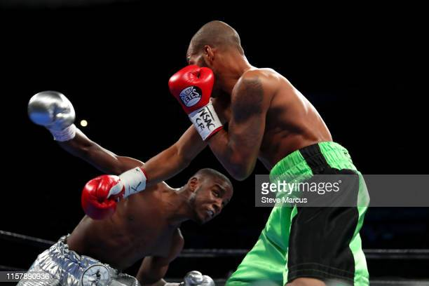 Chris Colbert battles with Albert Mercado during a lightweight fight at the Mandalay Bay Events Center on June 23 2019 in Las Vegas Nevada Colbert...