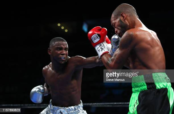 Chris Colbert punches Albert Mercado in a lightweight fight at the Mandalay Bay Events Center on June 23 2019 in Las Vegas Nevada Colbert won by...