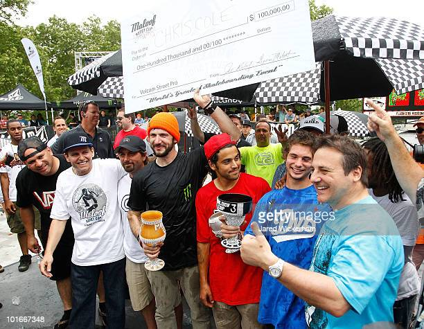 Chris Cole celebrates his first place win at the Maloof Money Cup with Joe Maloof , Paul Rodriguez , Torey Pudwill , and Gavin Maloof on June 6, 2010...