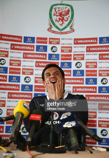 Chris Coleman coach of Wales during a press conference at St David's Hotel on March 25 2013 in Cardiff Wales