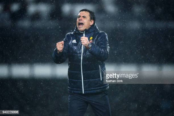 Chris Coleman manager of Sunderland celebrates after the Sky Bet Championship match between Derby County and Sunderland at iPro Stadium on March 30...