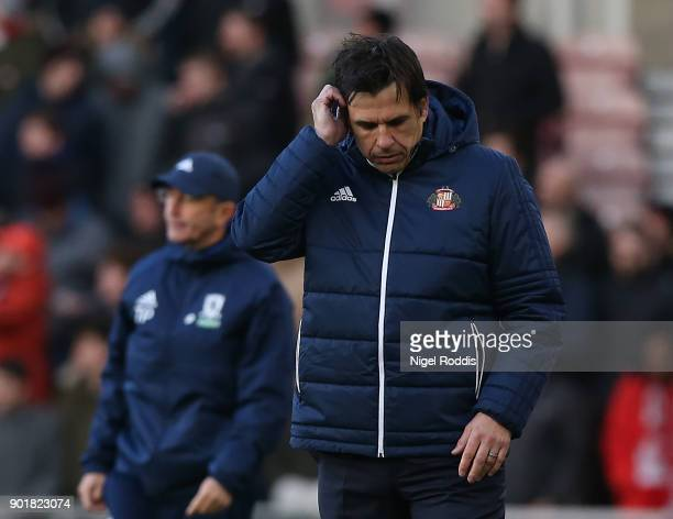 Chris Coleman manager of Sunderland during The Emirates FA Cup Third Round match between Middlesbrough and Sunderland at the Riverside Stadium on...