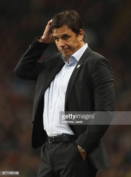 Chris Coleman manager of Sunderland looks on during the Sky Bet Championship match between Aston Villa and Sunderland at Villa Park on November 21...