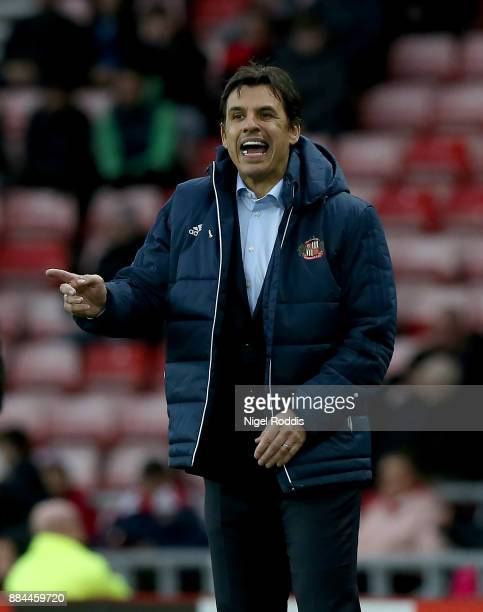 Chris Coleman manager of Sunderland reacts during the Sky Bet Championship match between Sunderland and Reading at Stadium of Light on December 2...